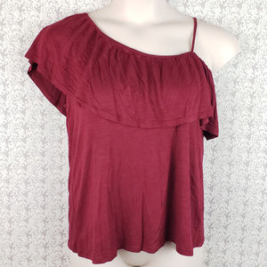 Pink Rose L Burgundy Red One Shoulder Shirt